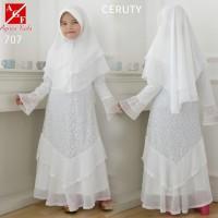 AGNES Gamis Putih Anak Perempuan Baju Muslim Syari Anak Lebaran 707