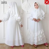 AGNES Gamis Putih Anak Perempuan Baju Muslim Syari Anak Lebaran 505