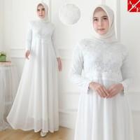 Baju Gamis Wanita Putih / Muslim Terbaru / Gamis Lebaran #80920 STD