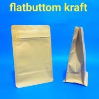 kemasan kopi flatbuttom craft ecopack 100gr -150gr kopi