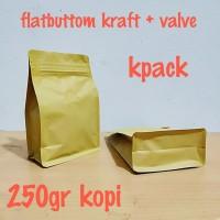kemasan kopi flatbuttom kraft ecopack 250gr kopi + valve