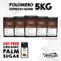 WORCAS Paket Kopi Polomero Espresso Blend 5 Kg Free Palm Sugar