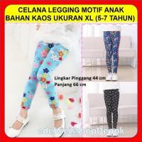 Celana Leging Anak Wanita Motif Bahan Kaos Ukuran XL 5-7 Tahun