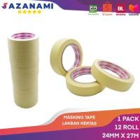 Lakban Kertas Masking Tape 1 24mm x 27m Sazanami Tape isolasi kertas