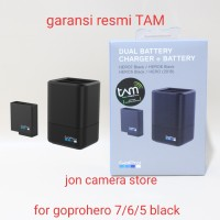 Gopro dual battery charger + battery hero 5 6 7 black