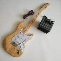 Paket Gitar Listrik Fender Stratocaster Natural amply dan jack murah