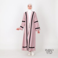 Long Outer Wanita Kombinasi List - Emikoawa Outwear Kimono Baju Kerja