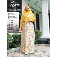 Gamis Syar'i/Gamis Flora Set Hijab/Gamis Jersey Set Brokat