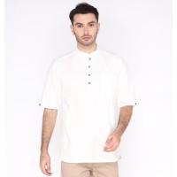 Baju Muslim Pria Lengan Pendek Putih Baju Koko Lebaran Gamis Premium