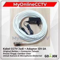Belden 15M + Adaptor 12V 2A Kabel CCTV Jadi Siap Pasang