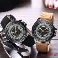 JYY Pria Jam Tangan Bisnis Kasual Geneva Kulit Quartz Wrist Watch1424