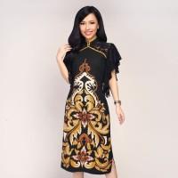 "Batik Kultur Dress - UPQ - Inverted ""V' Bali's Flower Black Yellow Red"