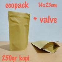kemasan kopi standing pouch ecopack 14x23 cm dengan VALVE00