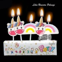 lilin ulang tahun unicorn pelangi lilin karakter unicorn awan pelangi