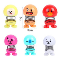 Boneka Per Emoji BTS BT21 LED Lampu Kepala Goyang Mobil Mainan Spring
