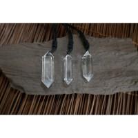 Kalung Liontin Batu White Clear Quartz Crystal Double Terminated
