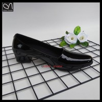 sepatu pantofel wanita high heels hitam polwan PDH kerja dinas guru