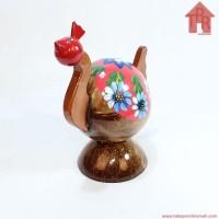 Kerajinan Batok Kelapa│Celengan Ayam Lukis Bunga
