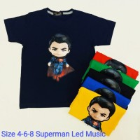 Pakaian Baju Atasan Kaos Superman Bagus Anak Laki / Cowok LED Musik