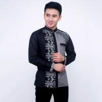 Baju Koko Pria Lengan Panjang Bordir Abu Hitam| Kemeja Koko Batik Pria