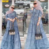 gamis jeans denim maxi baju muslim wanita maxy jumbo bigsize big size