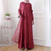 gamis baju muslim wanita pesta mewah glamour cape seragam pernikahan