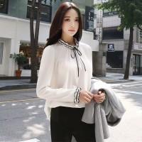 baju atasan blouse wanita lengan panjang variasi pita style korea