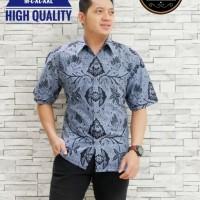Wahyu Tumurun Abu Kemeja Batik Pria Lengan Pendek by Batik SM