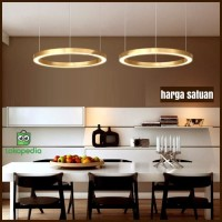 Lampu hias gantung led rinng cincin gold diameter 60cm led 2 warna