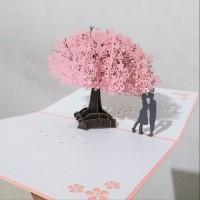 KARTU UCAPAN VALENTINE POP UP 3D BUNGA SAKURA PINK MURAH & BERKUALITAS