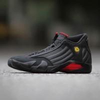 Sepatu Basket x Nike Air Jordan 14 Black Red Premium Original