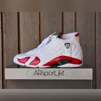 Sepatu Basket x Nike Air Jordan 14 White Varsity Red Premium Original