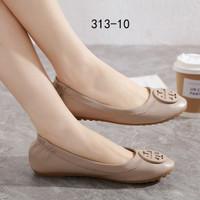 Sepatu Tory Burch Classic Ballerina Flats New Edition Semi Premium - Apricot cream
