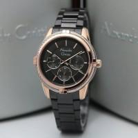 jam tangan wanita alexander cristie original ac2843 black rose gold