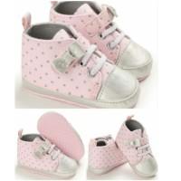 Sepatu Bayi Perempuan Boot Polkadot Pita Pink Abu Prewalker Import