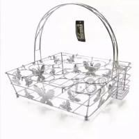 Wadah gelas aqua / keranjang aqua stainless steel 16 lubang