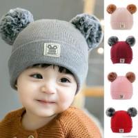 Topi Kupluk Bayi / Anak Laki-laki / Perempuan Bahan Wol Rajut Hangat
