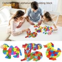Terlaris CH Mainan Edukasi Puzzle Blok Kayu Gambar Kartun Hewan