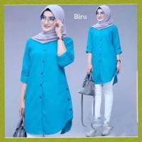 baju atasan muslim wanita blus hijab outfit blouse polos tunik biru