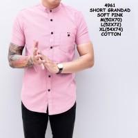 4961 Kemeja Unisex Pria Lengan Pendek Pink Merah Muda Murah Grosir