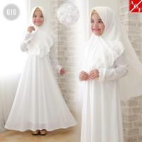 AGNES Gamis Putih Anak Perempuan Baju Muslim Syari Anak Lebaran 616