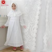 AGNES Gamis Putih Anak Perempuan Baju Muslim Syari Anak Lebaran 622