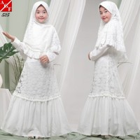 AGNES Gamis Putih Anak Perempuan Baju Muslim Syari Anak Lebaran 525