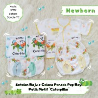 3 Setelan Pendek Bayi Baju Lengan Pendek Celana Pop Caterpillar murah