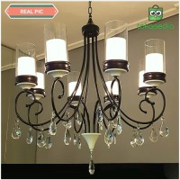 Lampu hias gantung black iron crystal chandelier double glass cabang 8