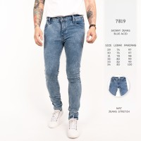 Celana Jeans Pria Biru Acid / Celana Panjang Premium