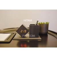 Jam Meja Kayu - Wood Clock Digital LED with pen holder / tempat pen - Hitam Led Merah
