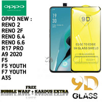 OPPO A9 2020 F7 YOUTH Tempered Glass/ Anti Gores Kaca FulLem 5D/9D - Hitam