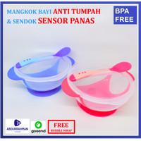 Mangkok Bayi Anti Tumpah dan Sendok Sensor Suhu Panas MPASI BPA Free