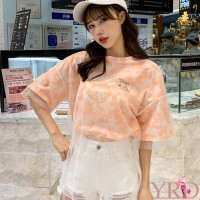 Cantik Korean Style Women Half Sleeve Mesh Layered T-shirt